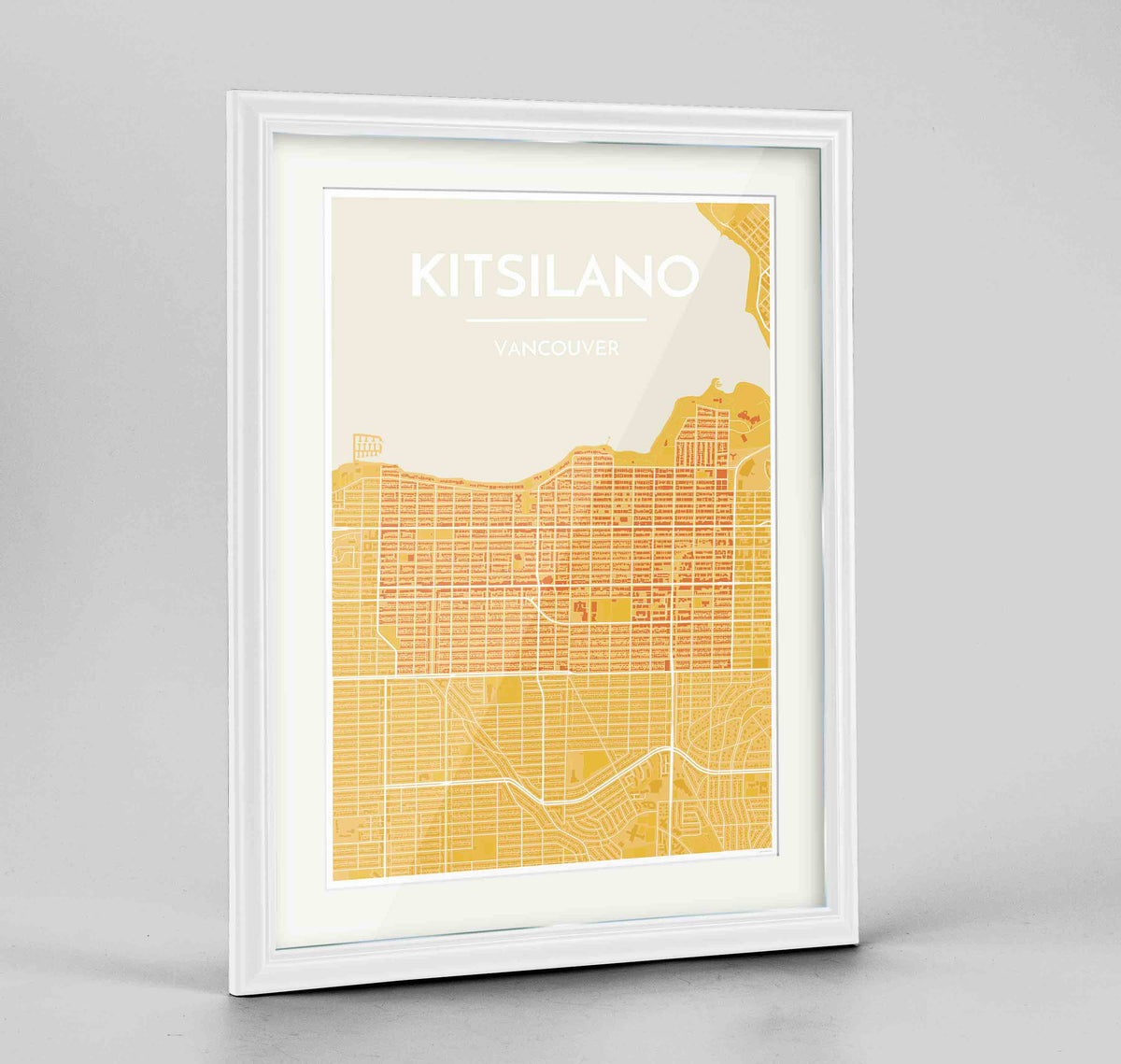"Framed Kitsilano Vancouver Map Art Print 24x36"" Traditional White frame Point Two Design Group"