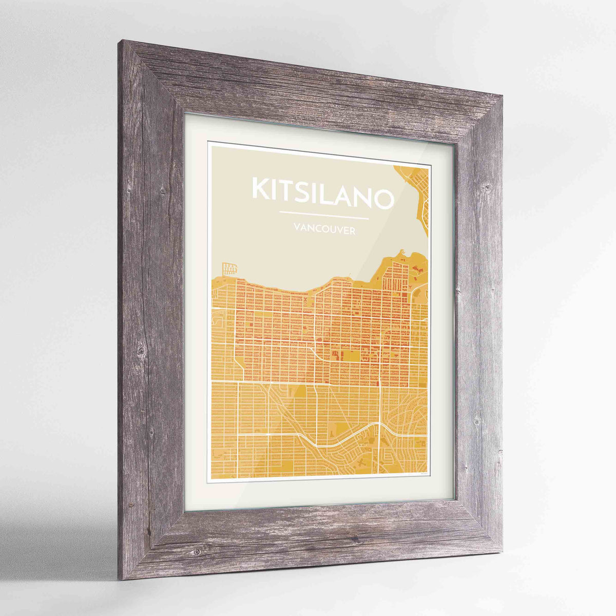 "Framed Kitsilano Vancouver Map Art Print 24x36"" Western Grey frame Point Two Design Group"