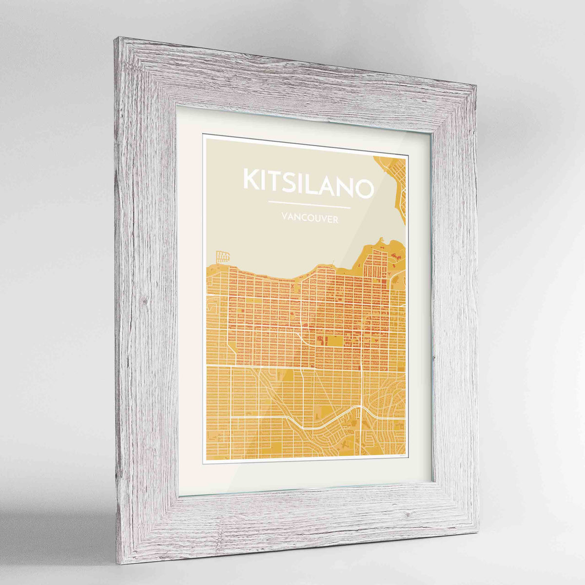 "Framed Kitsilano Vancouver Map Art Print 24x36"" Western White frame Point Two Design Group"