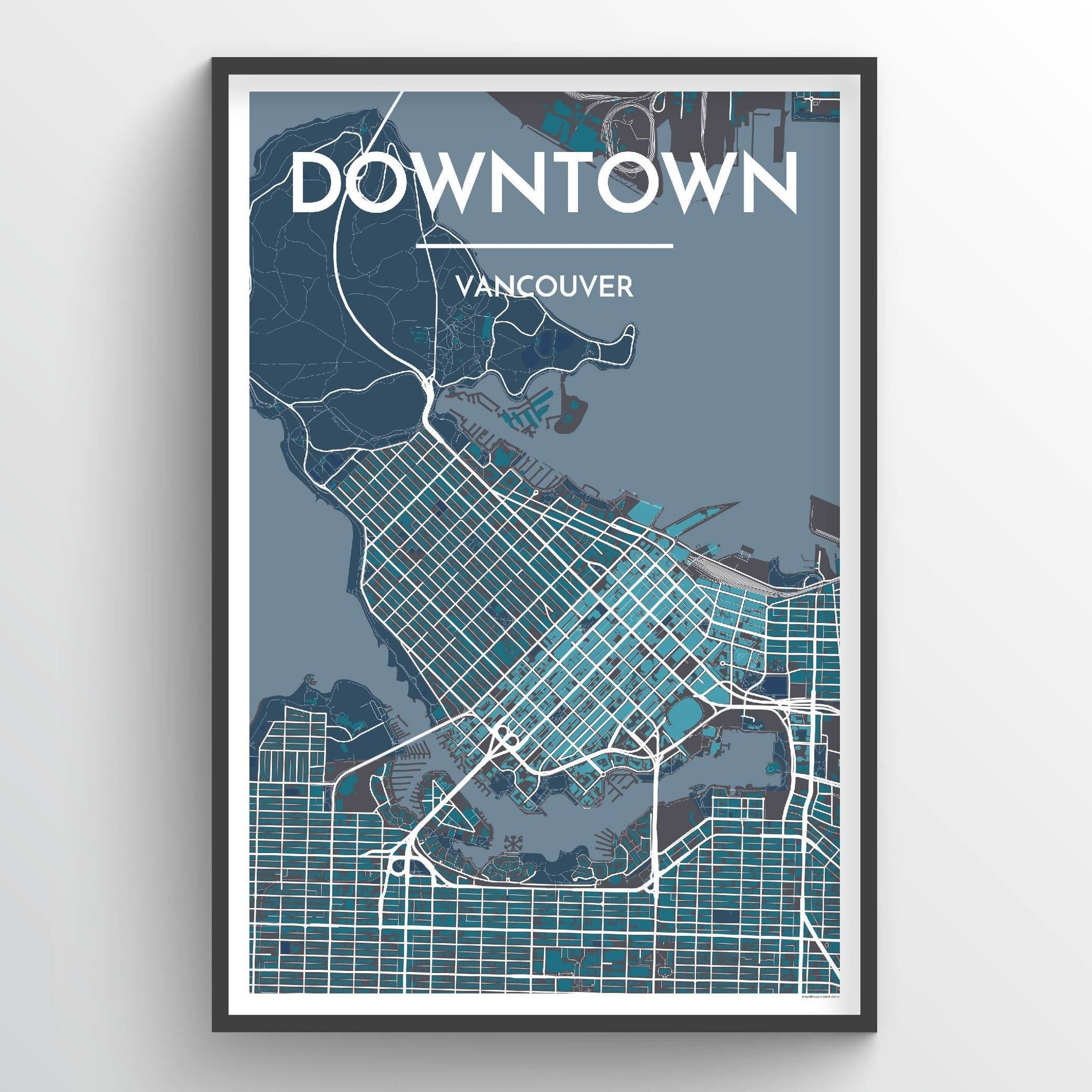 Downtown Vancouver Map Art Print - Point Two Design
