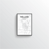 Welland City Map Art Print - Point Two Design - Black and White