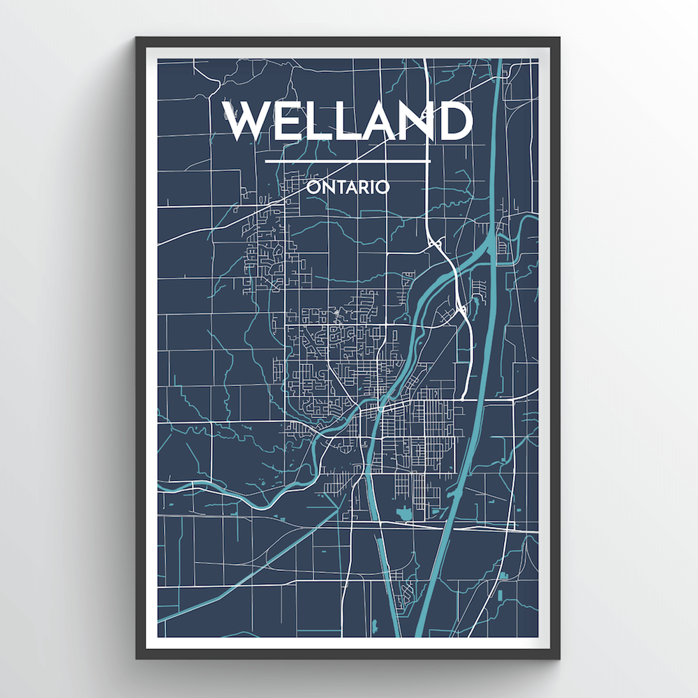 Welland City Map Art Print - Point Two Design