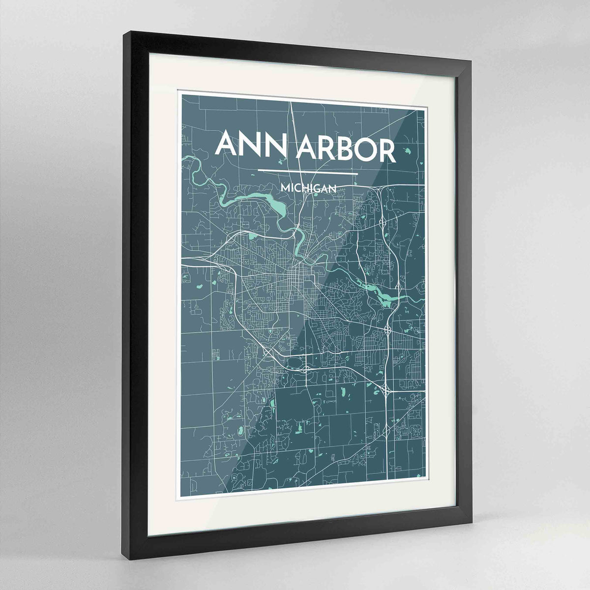 "Framed Ann Arbor Map Art Print 24x36"" Contemporary Black frame Point Two Design Group"