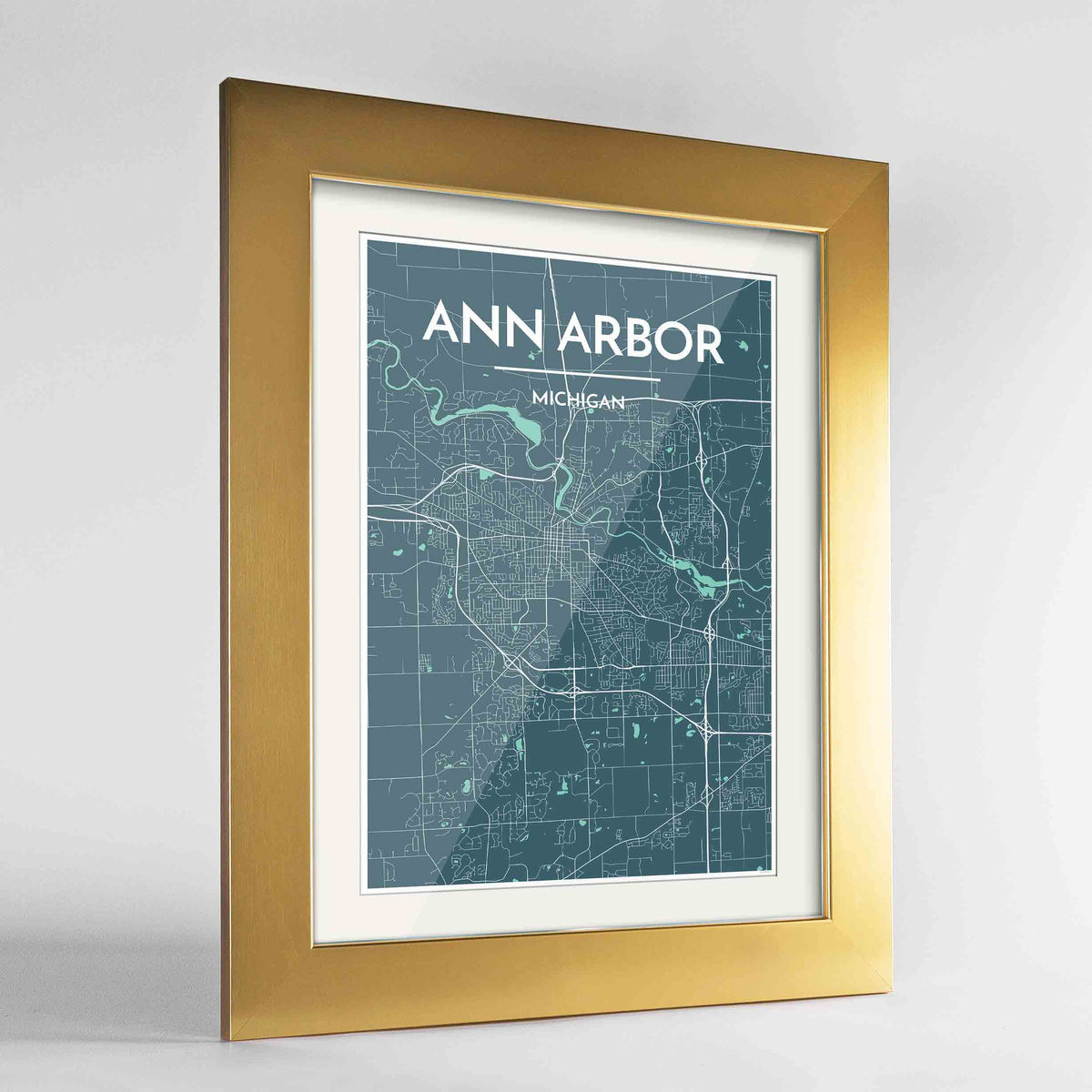"Framed Ann Arbor Map Art Print 24x36"" Gold frame Point Two Design Group"