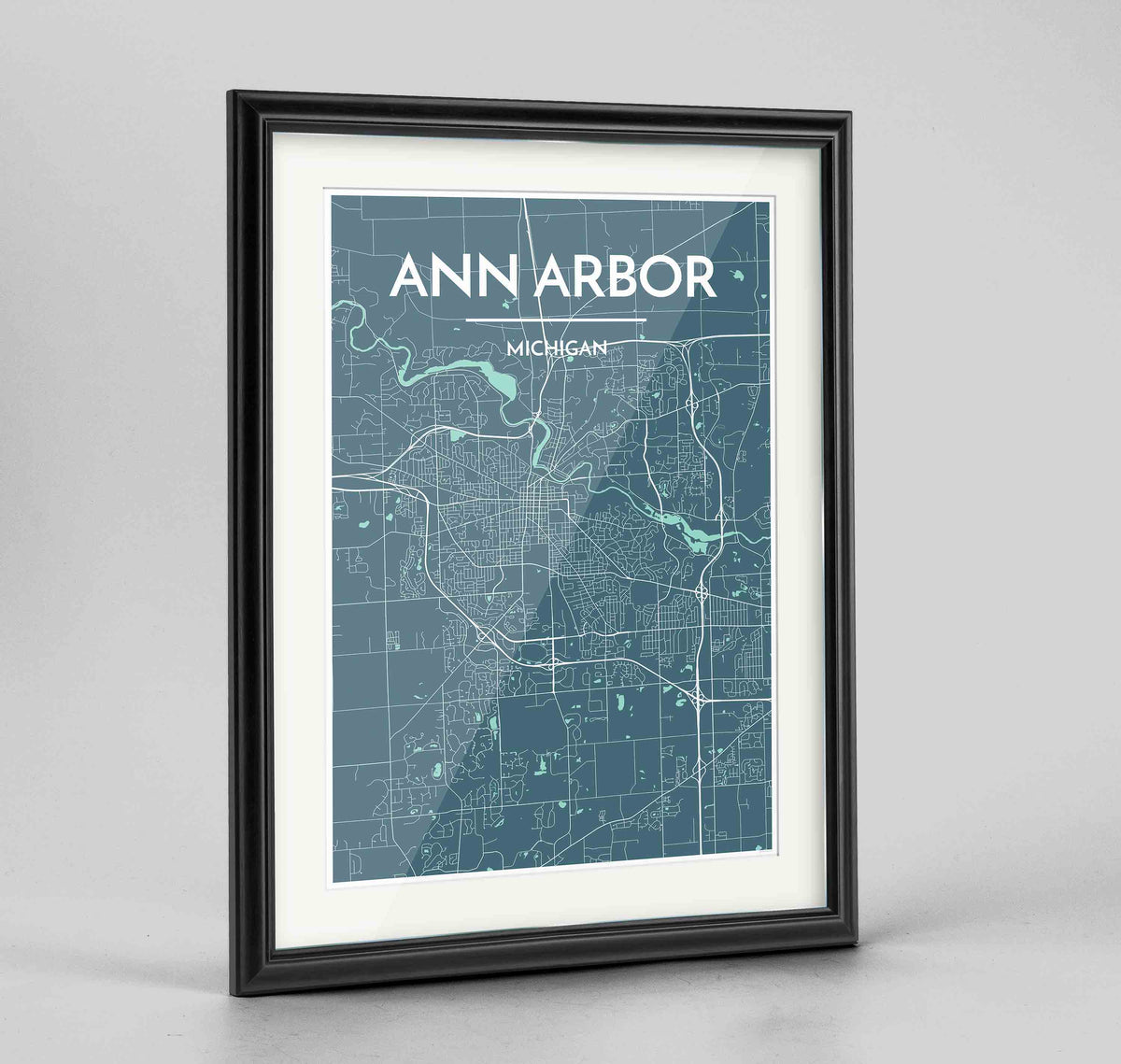 "Framed Ann Arbor Map Art Print 24x36"" Traditional Black frame Point Two Design Group"