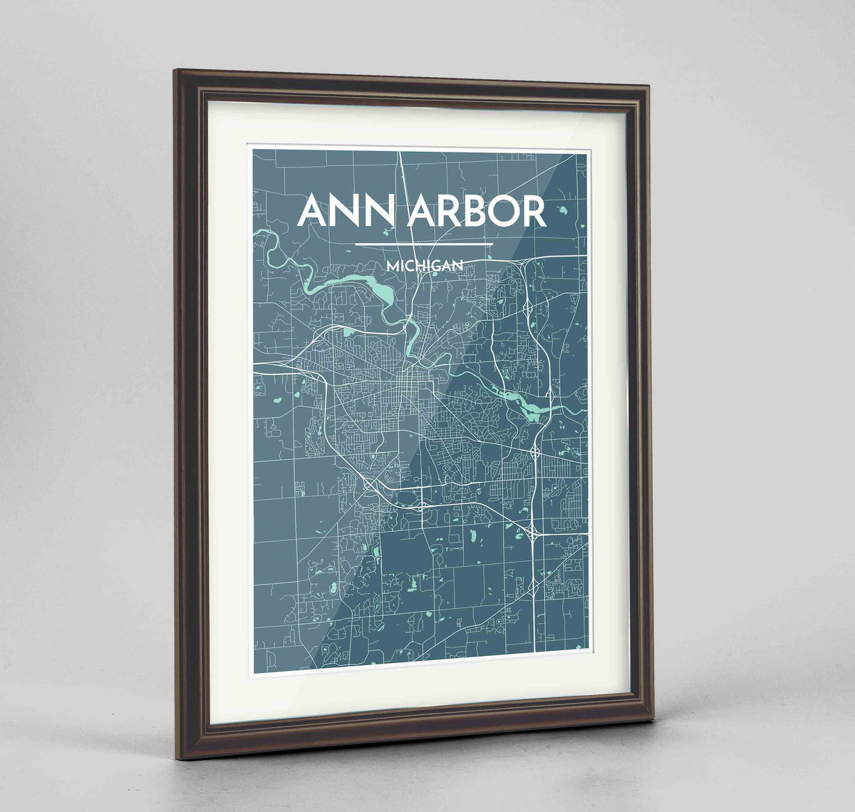"Framed Ann Arbor Map Art Print 24x36"" Traditional Walnut frame Point Two Design Group"