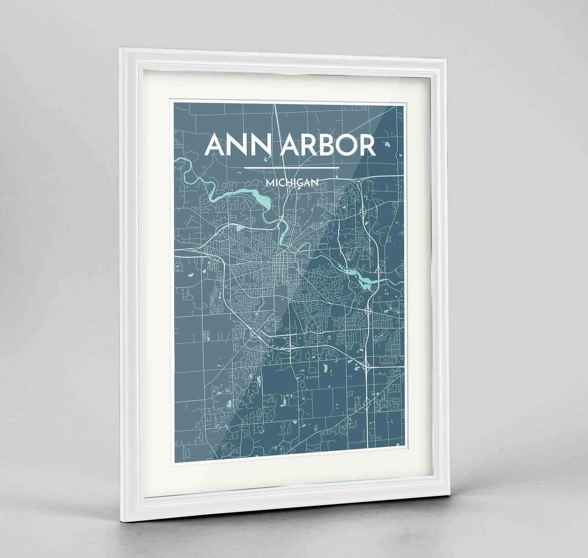 "Framed Ann Arbor Map Art Print 24x36"" Traditional White frame Point Two Design Group"