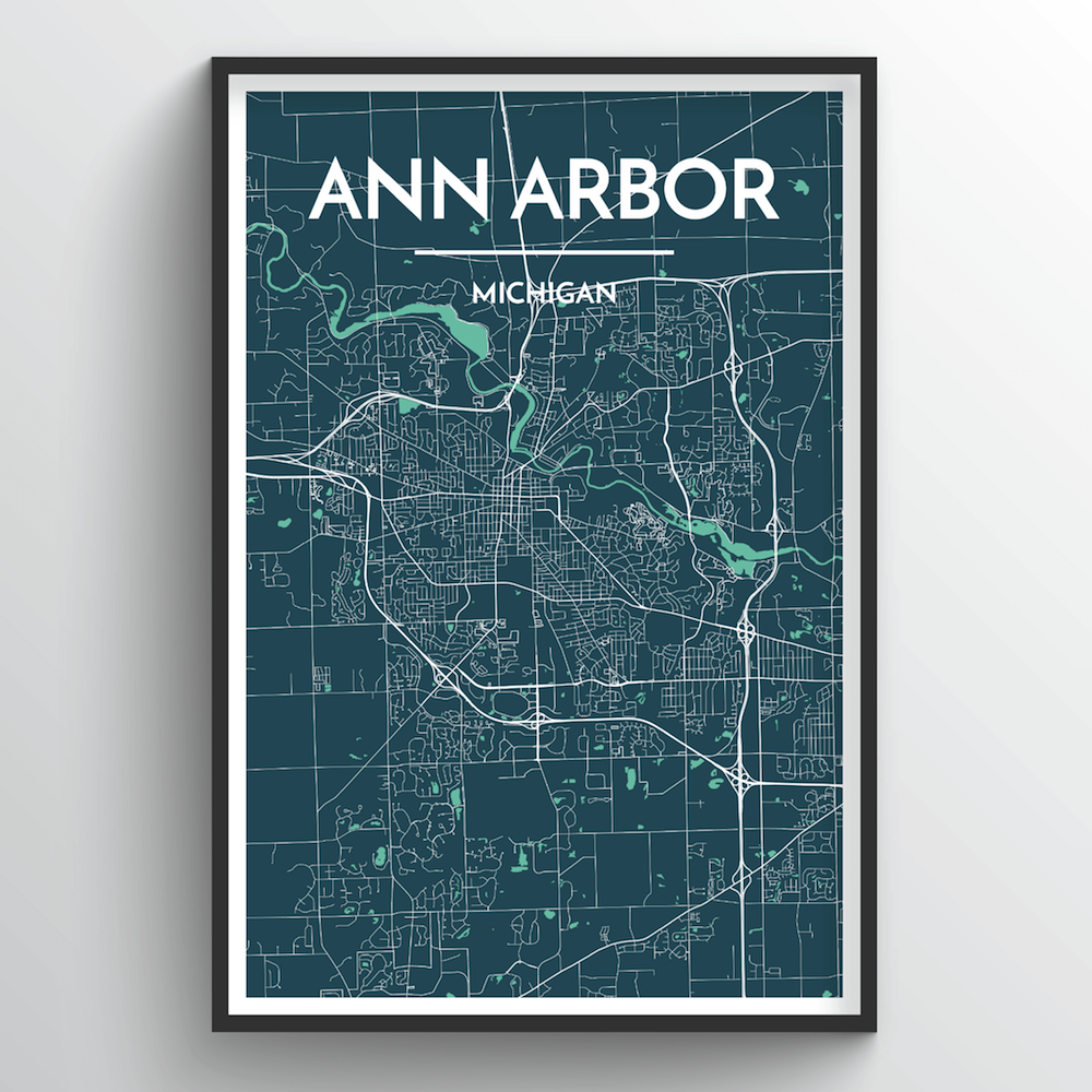 Ann Arbor Map Art Print - Point Two Design