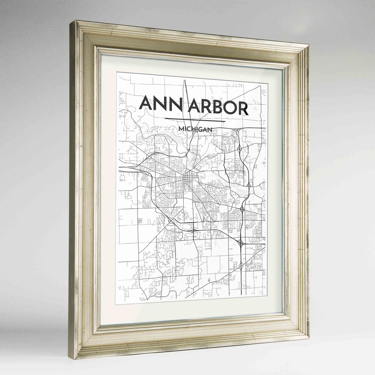 "Framed Ann Arbor Map Art Print 24x36"" Champagne frame Point Two Design Group"