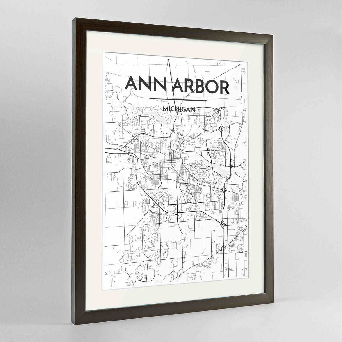 "Framed Ann Arbor Map Art Print 24x36"" Contemporary Walnut frame Point Two Design Group"