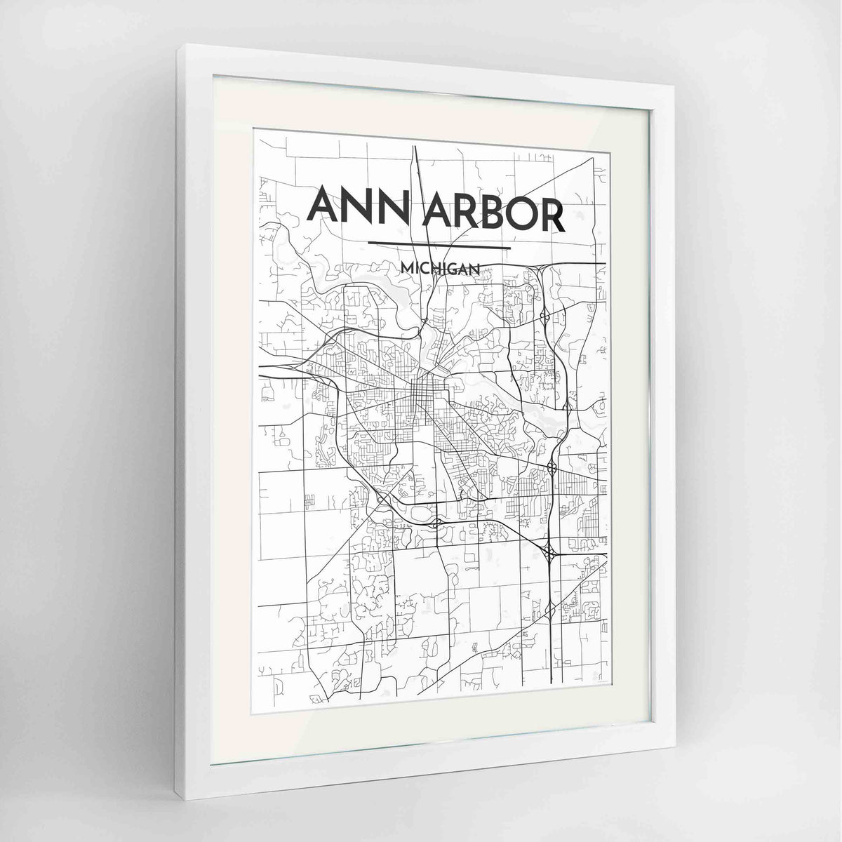 "Framed Ann Arbor Map Art Print 24x36"" Contemporary White frame Point Two Design Group"