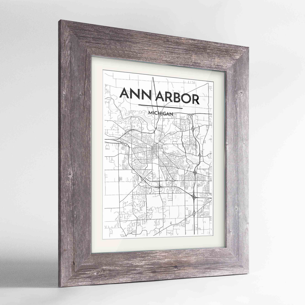"Framed Ann Arbor Map Art Print 24x36"" Western Grey frame Point Two Design Group"
