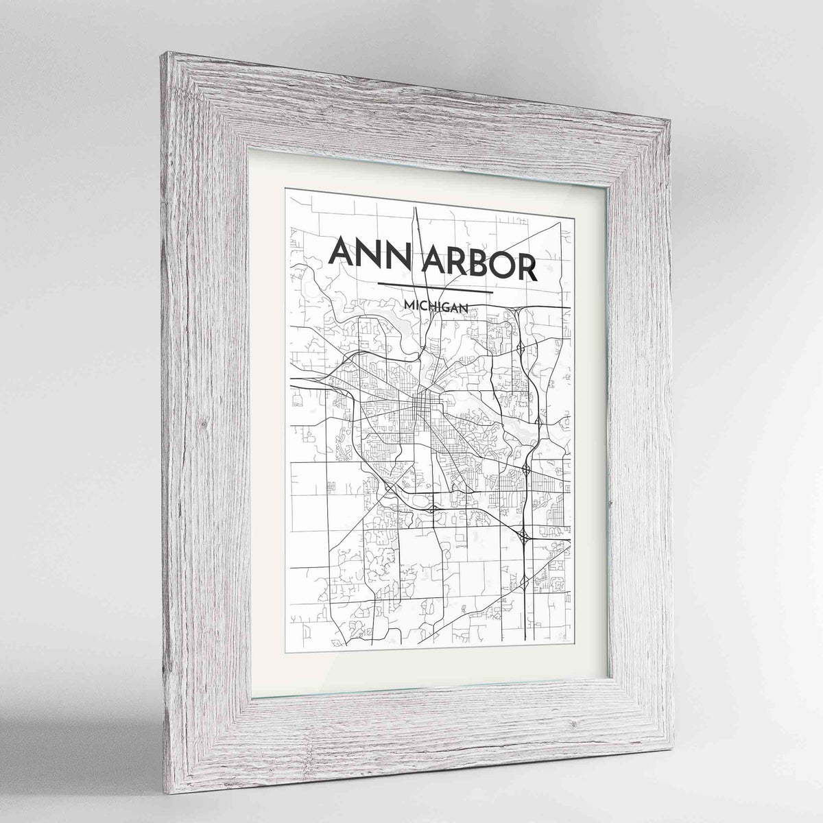 "Framed Ann Arbor Map Art Print 24x36"" Western White frame Point Two Design Group"