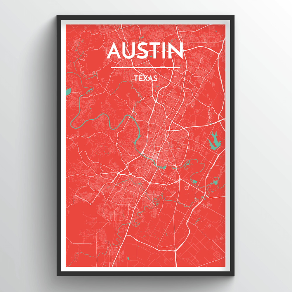 Austin Map Art Print - Point Two Design