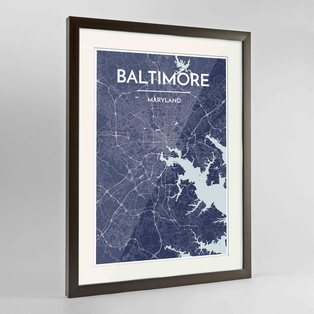 "Framed Baltimore Map Art Print 24x36"" Contemporary Walnut frame Point Two Design Group"