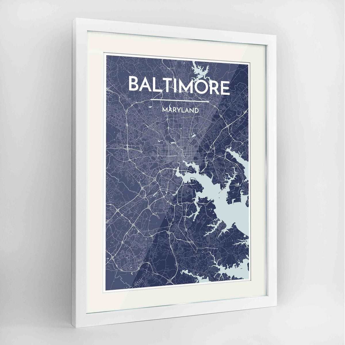 "Framed Baltimore Map Art Print 24x36"" Contemporary White frame Point Two Design Group"