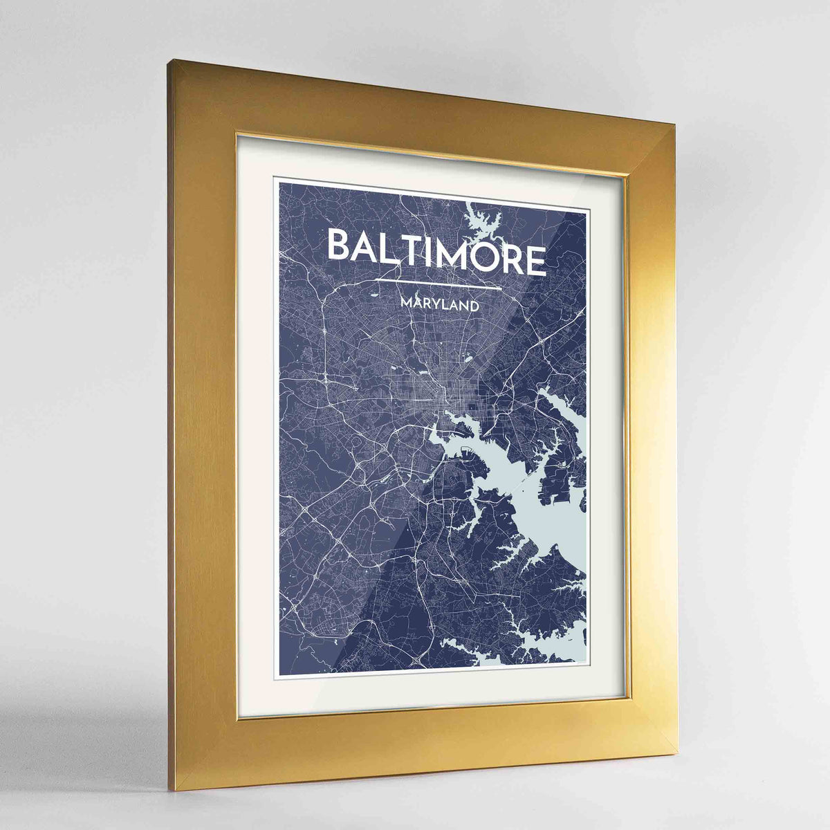 "Framed Baltimore Map Art Print 24x36"" Gold frame Point Two Design Group"