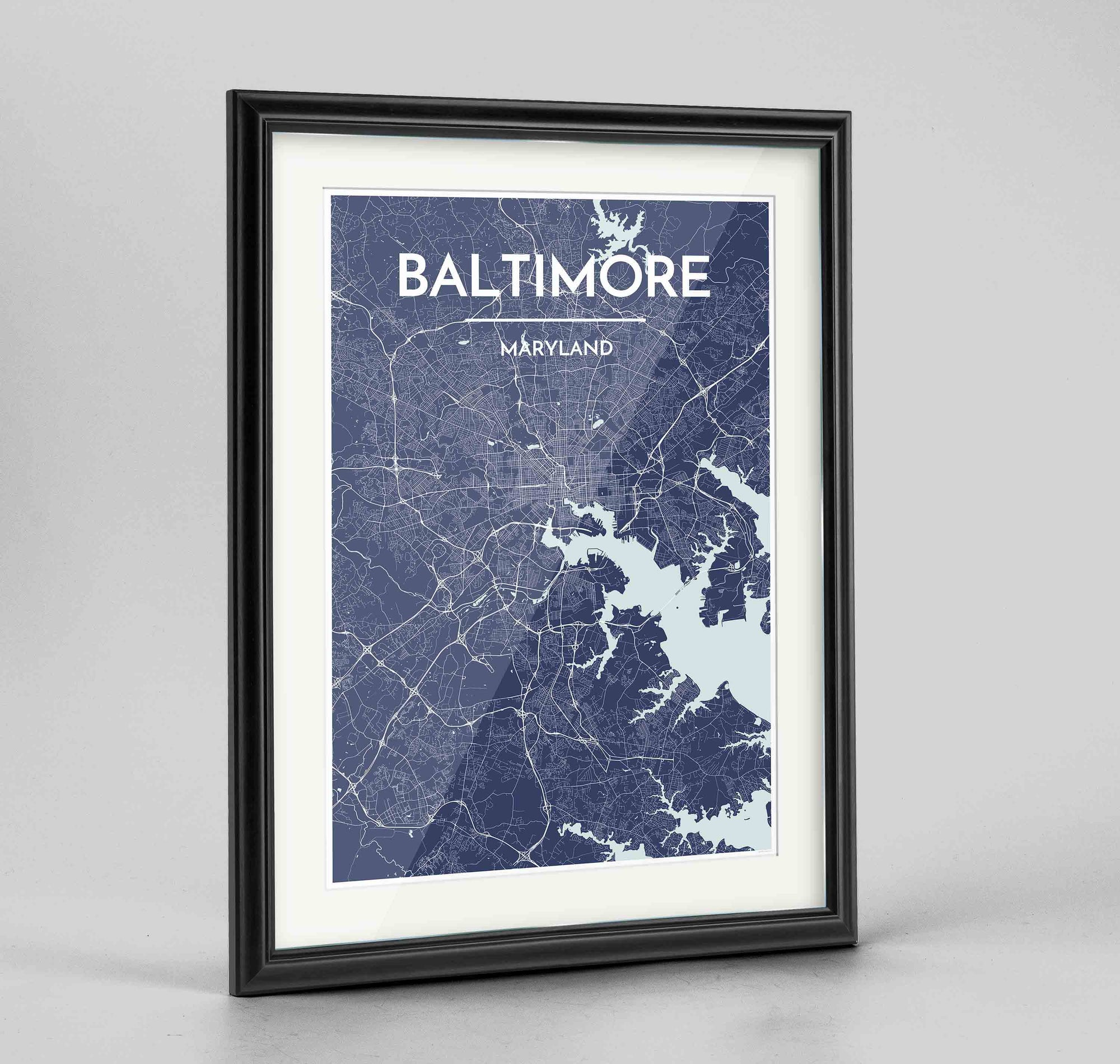 "Framed Baltimore Map Art Print 24x36"" Traditional Black frame Point Two Design Group"