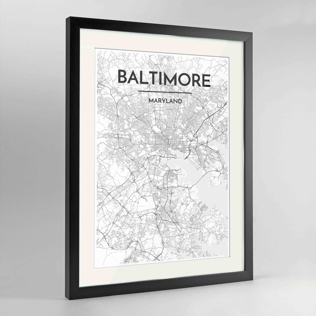 "Framed Baltimore Map Art Print 24x36"" Contemporary Black frame Point Two Design Group"