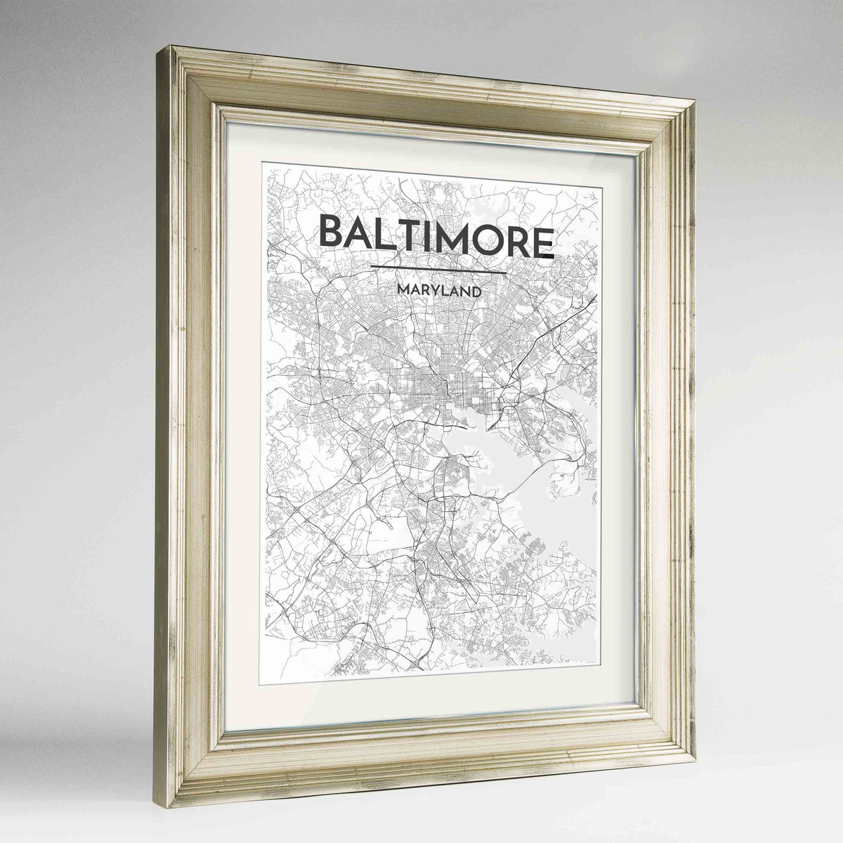 "Framed Baltimore Map Art Print 24x36"" Champagne frame Point Two Design Group"