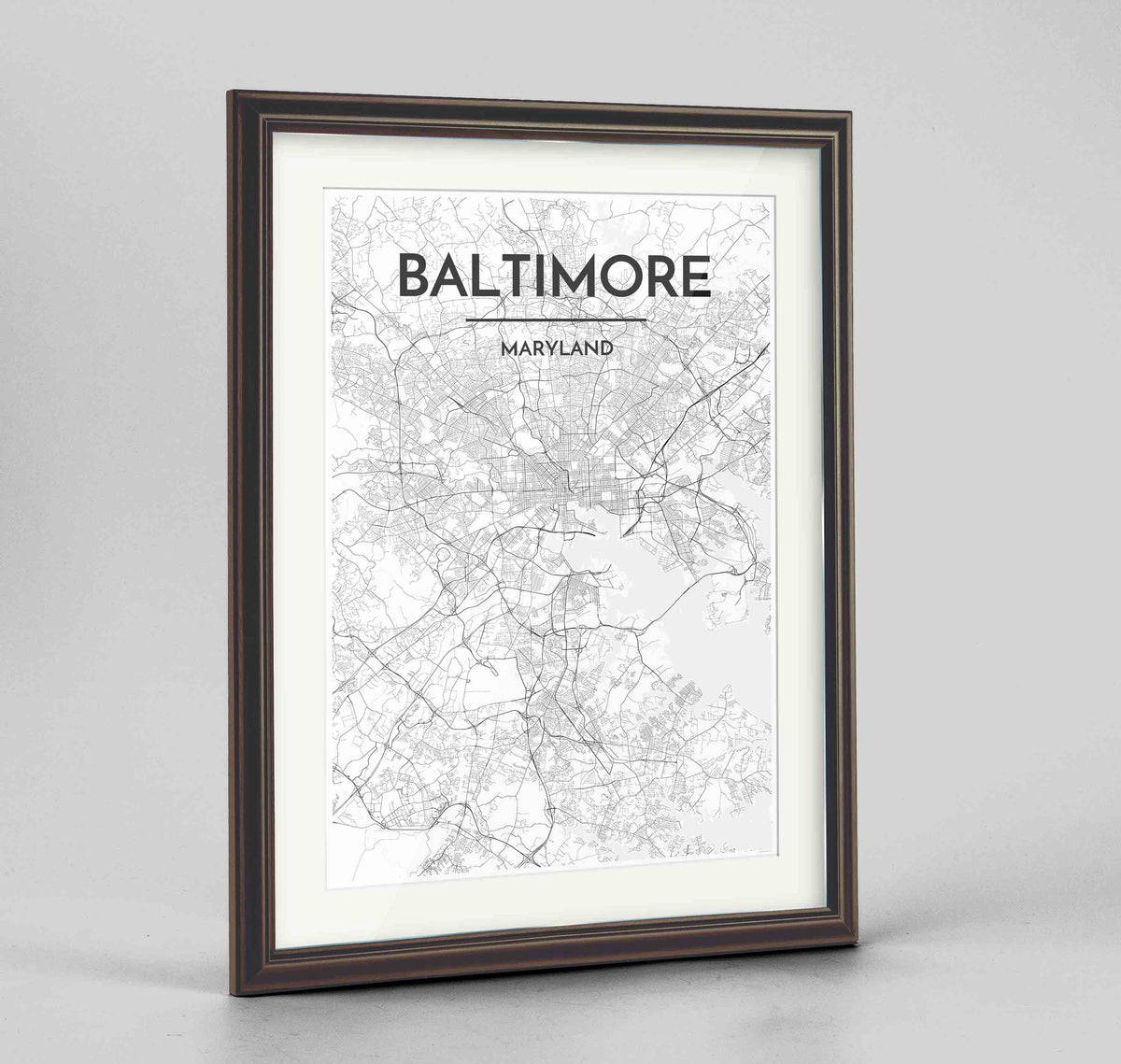 "Framed Baltimore Map Art Print 24x36"" Traditional Walnut frame Point Two Design Group"