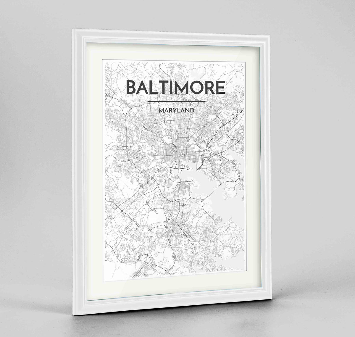 "Framed Baltimore Map Art Print 24x36"" Traditional White frame Point Two Design Group"