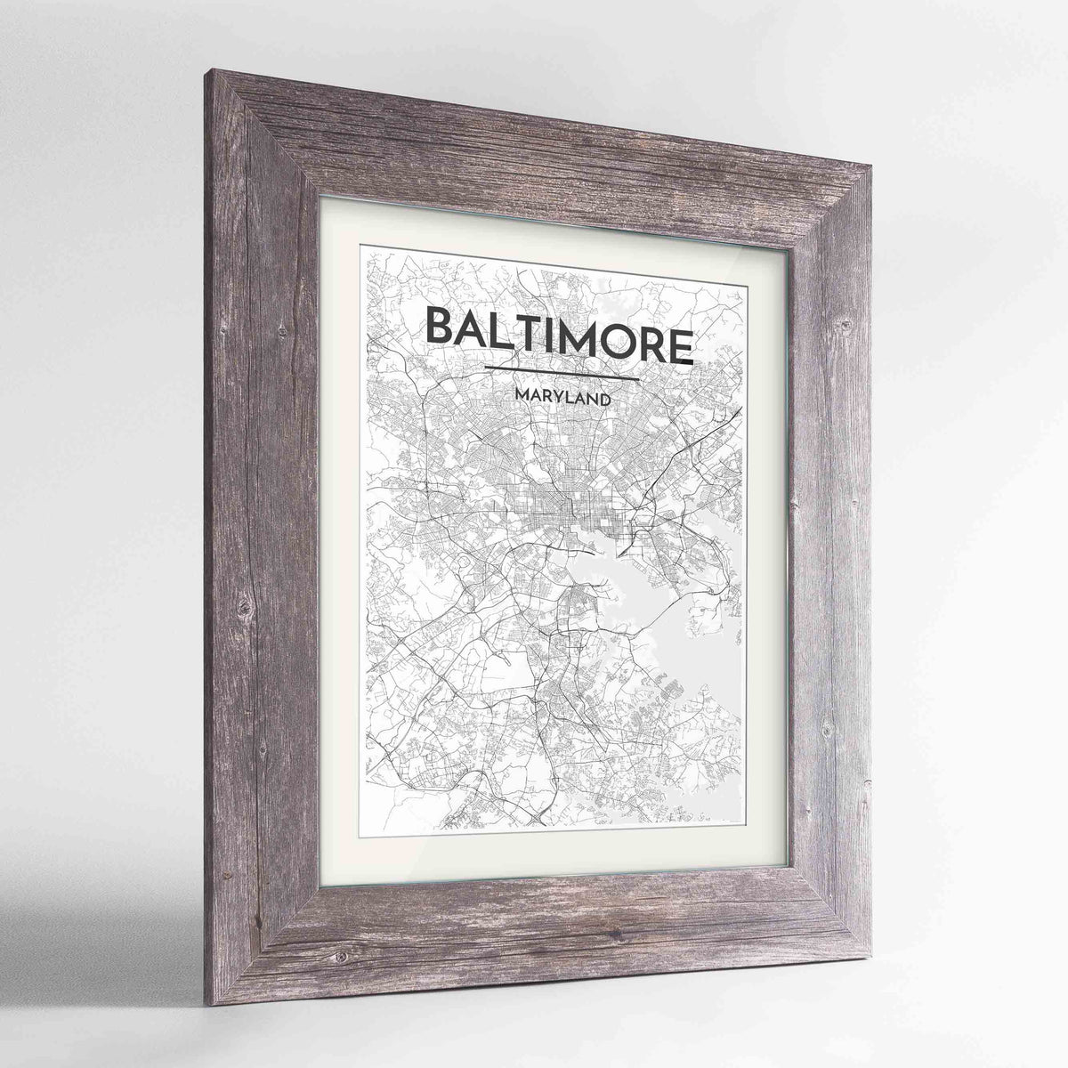 "Framed Baltimore Map Art Print 24x36"" Western Grey frame Point Two Design Group"