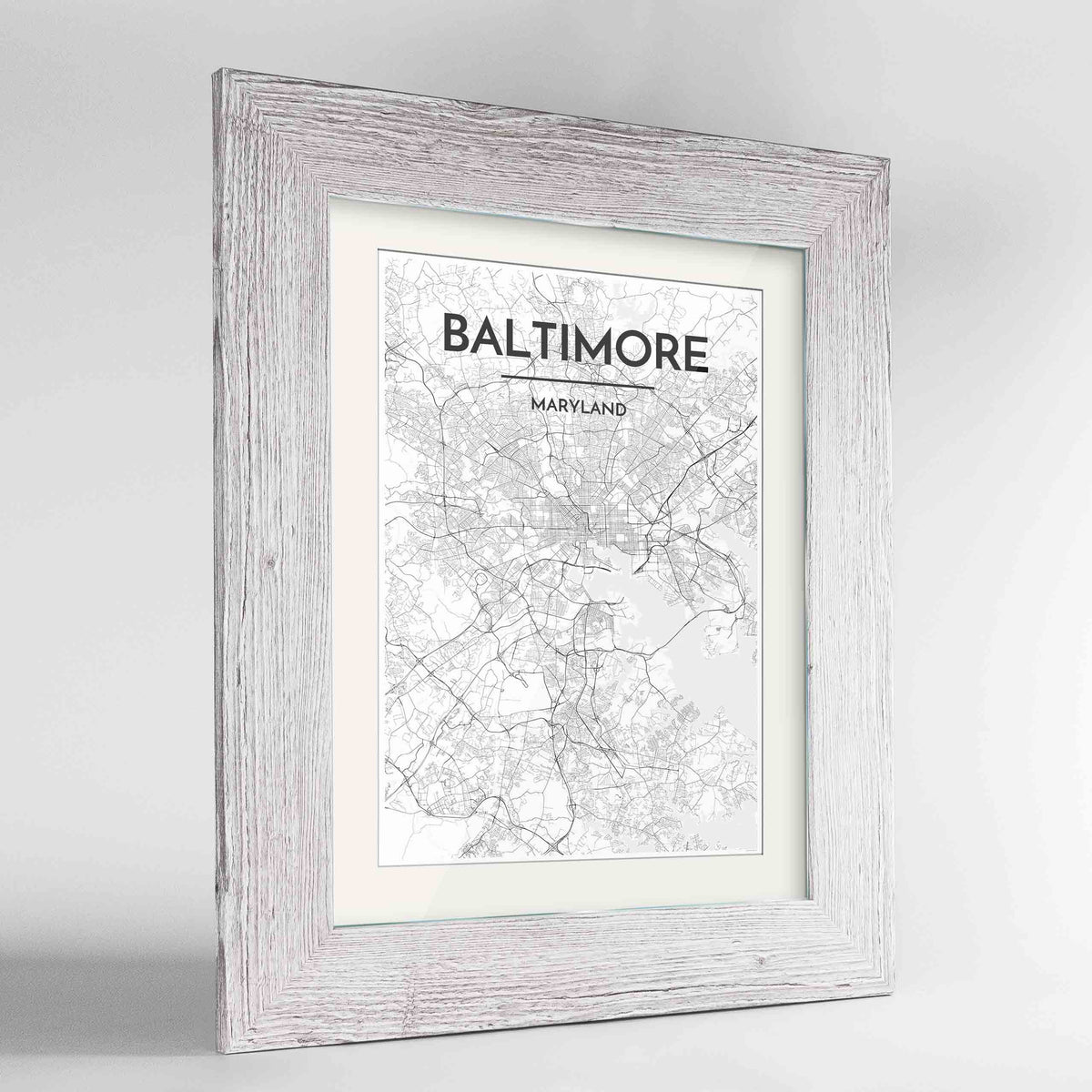 "Framed Baltimore Map Art Print 24x36"" Western White frame Point Two Design Group"