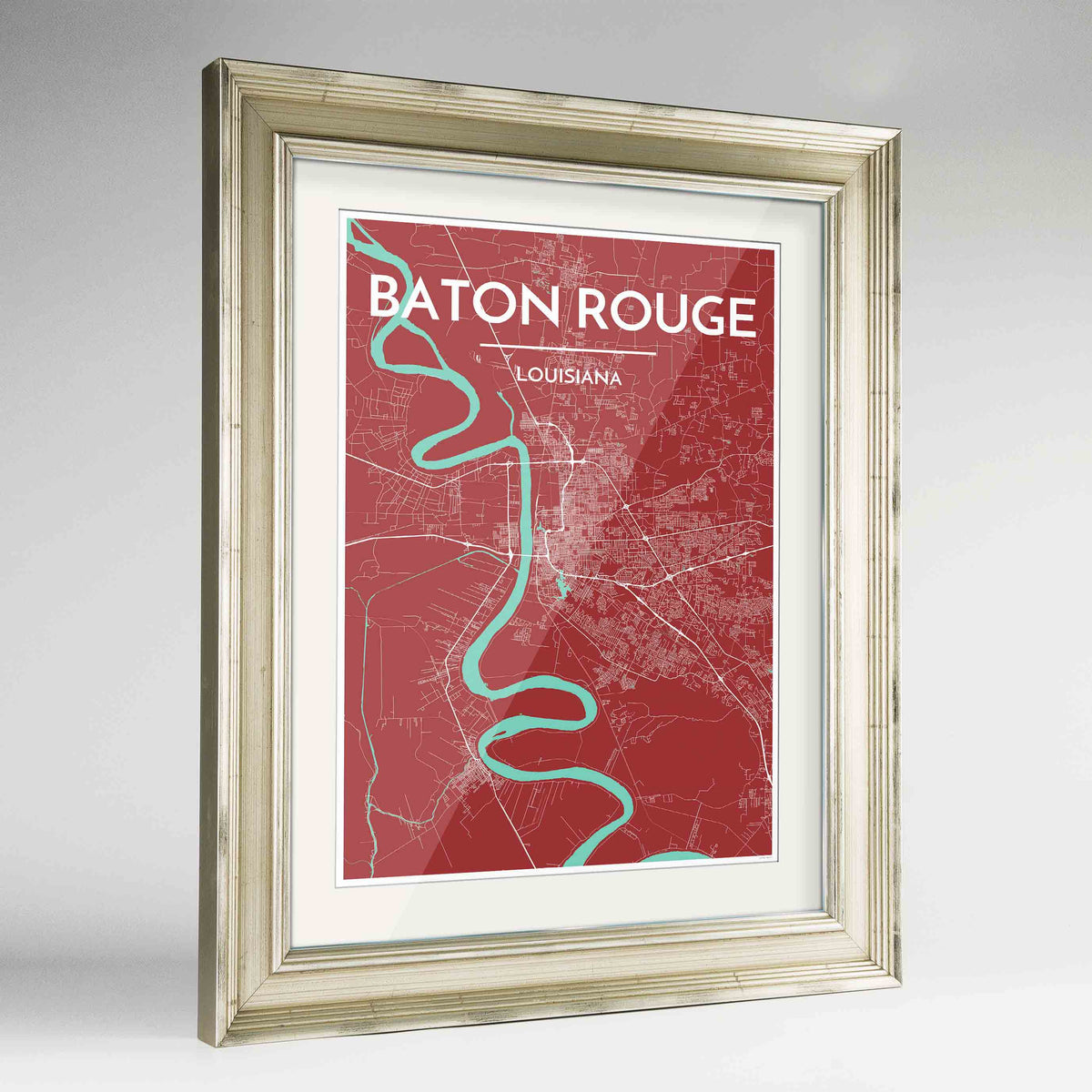 "Framed Baton Rouge Map Art Print 24x36"" Champagne frame Point Two Design Group"