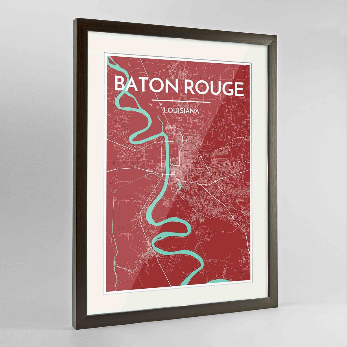 "Framed Baton Rouge Map Art Print 24x36"" Contemporary Walnut frame Point Two Design Group"