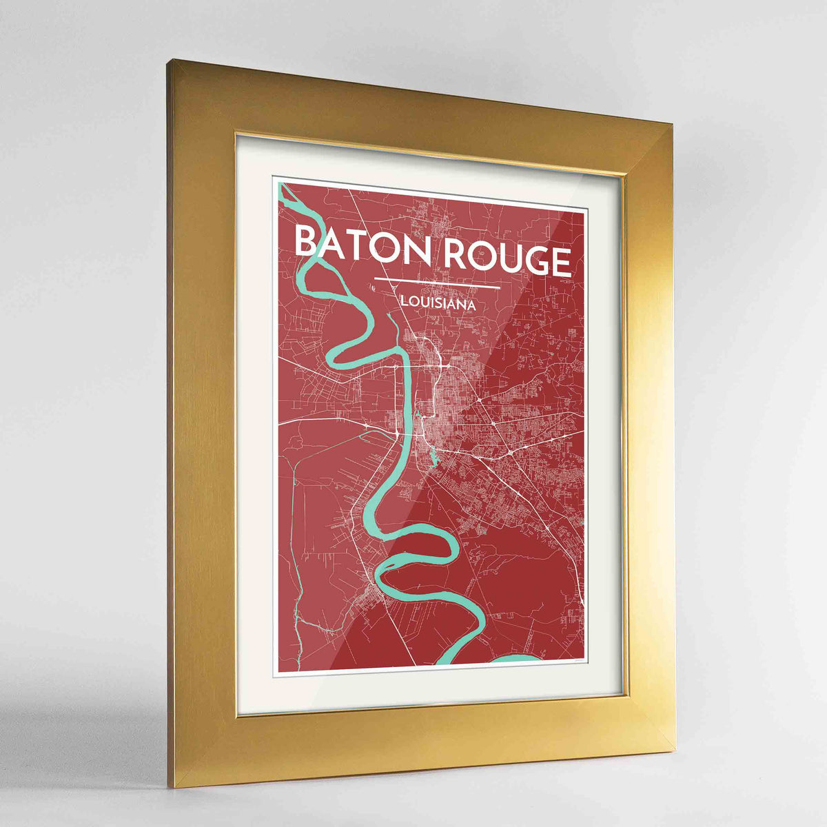"Framed Baton Rouge Map Art Print 24x36"" Gold frame Point Two Design Group"