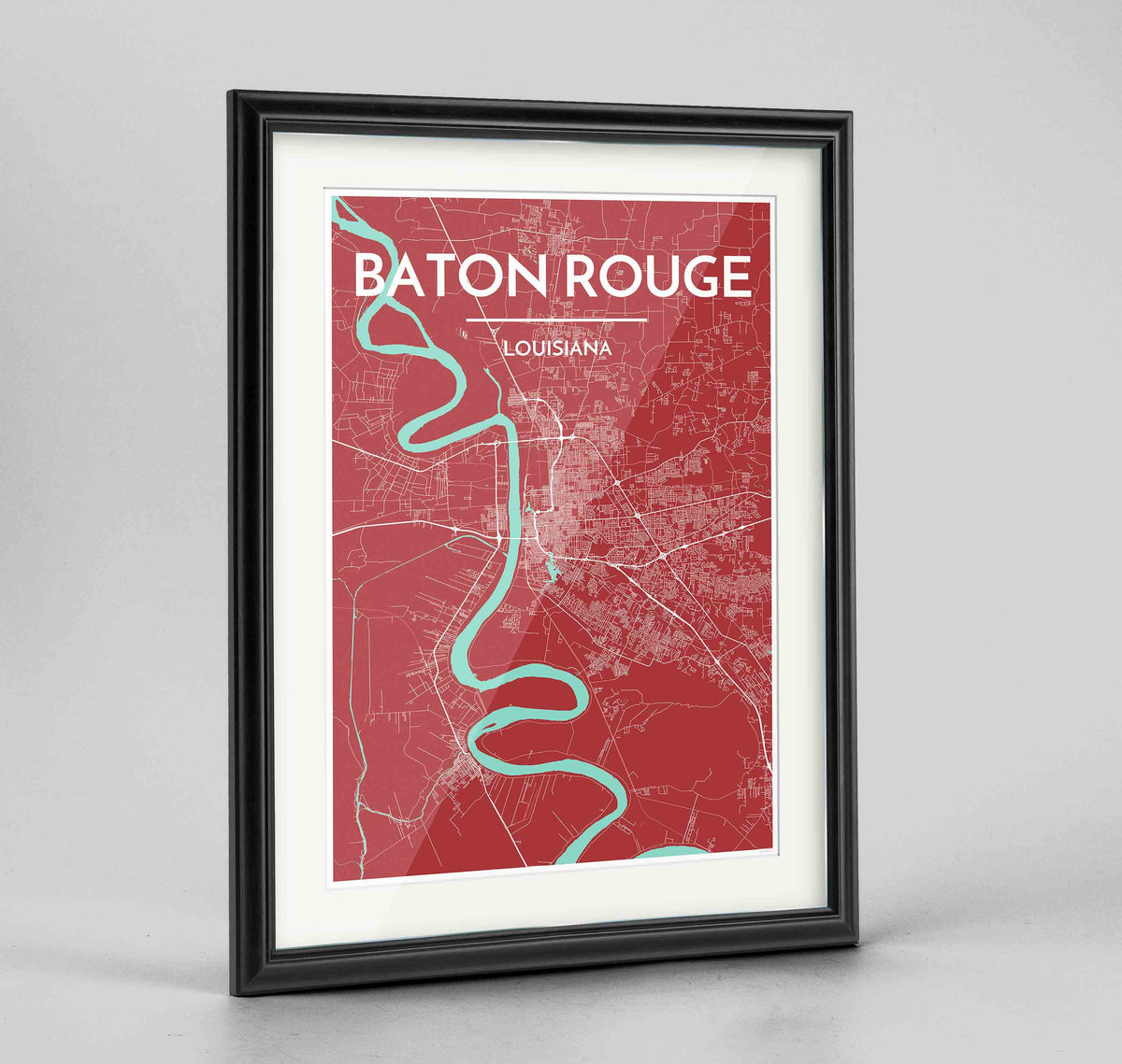 "Framed Baton Rouge Map Art Print 24x36"" Traditional Black frame Point Two Design Group"
