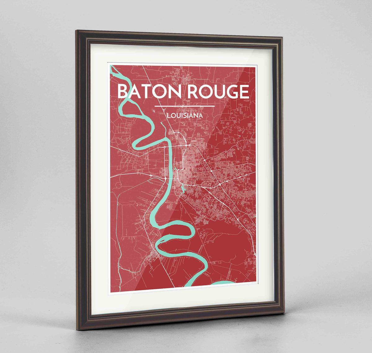 "Framed Baton Rouge Map Art Print 24x36"" Traditional Walnut frame Point Two Design Group"