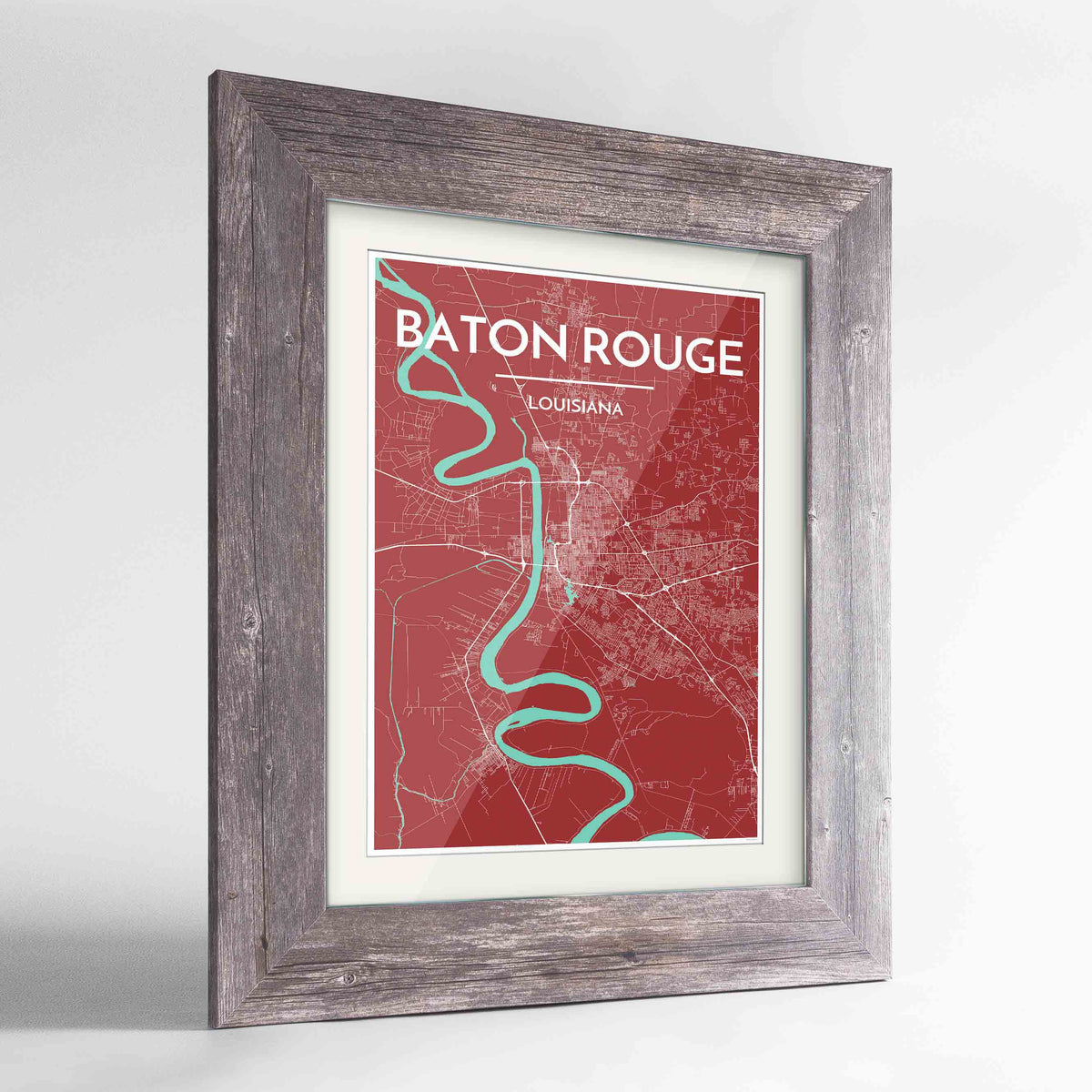 "Framed Baton Rouge Map Art Print 24x36"" Western Grey frame Point Two Design Group"