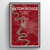 Baton Rouge Map Art Print - Point Two Design