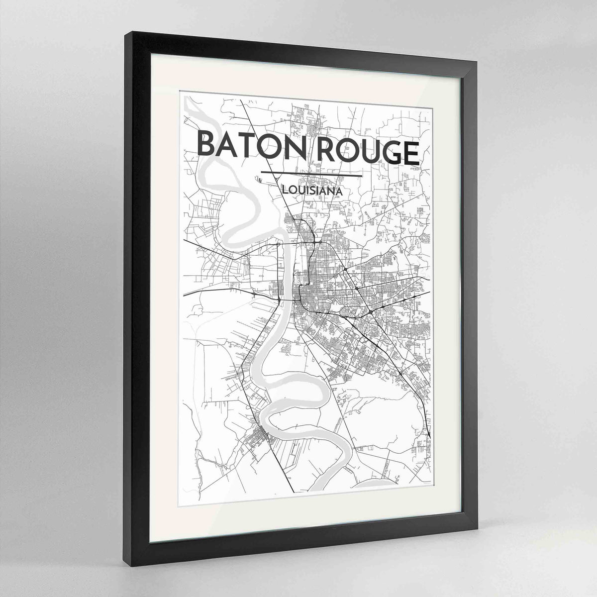 "Framed Baton Rouge Map Art Print 24x36"" Contemporary Black frame Point Two Design Group"