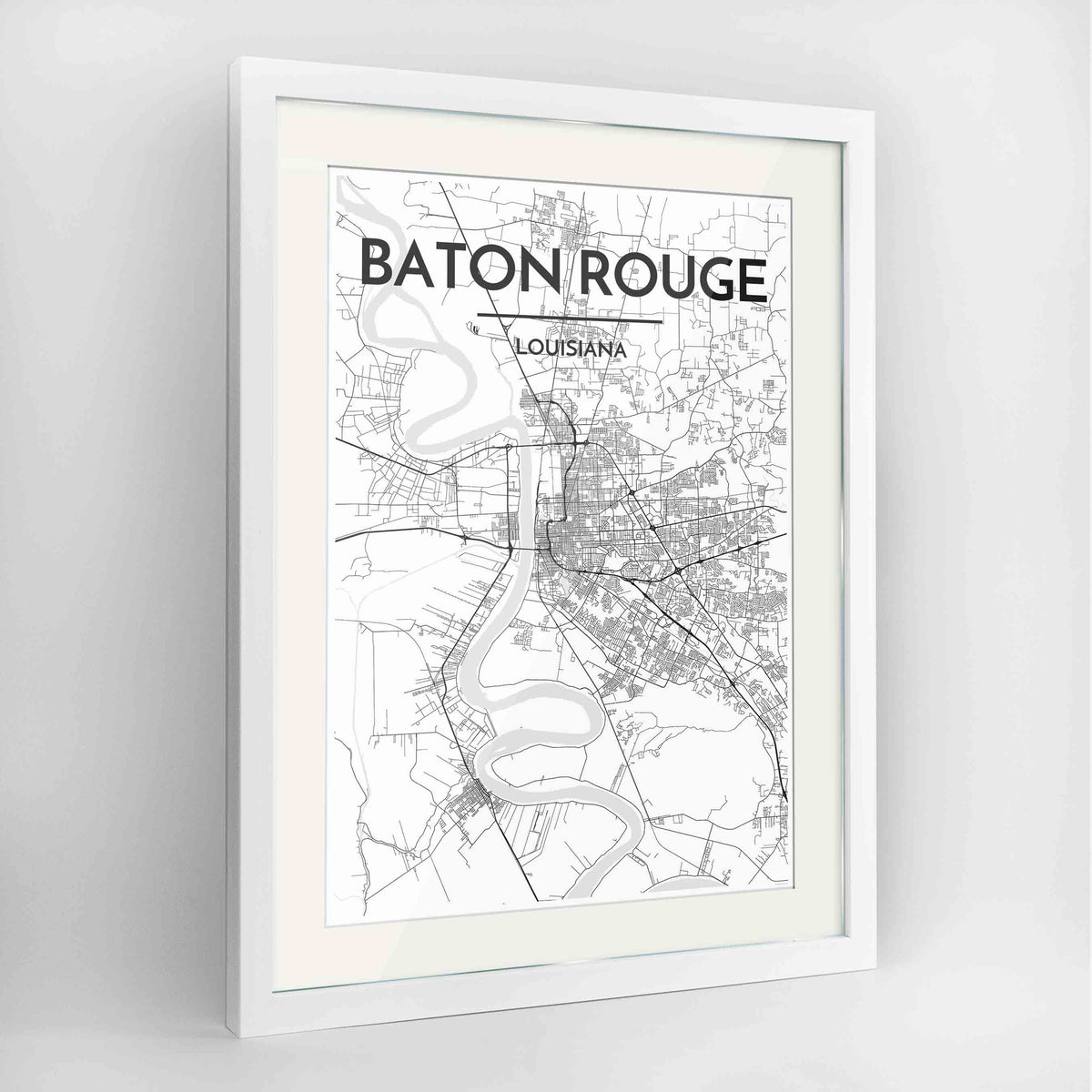 "Framed Baton Rouge Map Art Print 24x36"" Contemporary White frame Point Two Design Group"