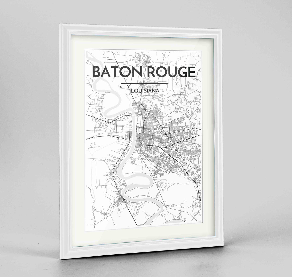 "Framed Baton Rouge Map Art Print 24x36"" Traditional White frame Point Two Design Group"