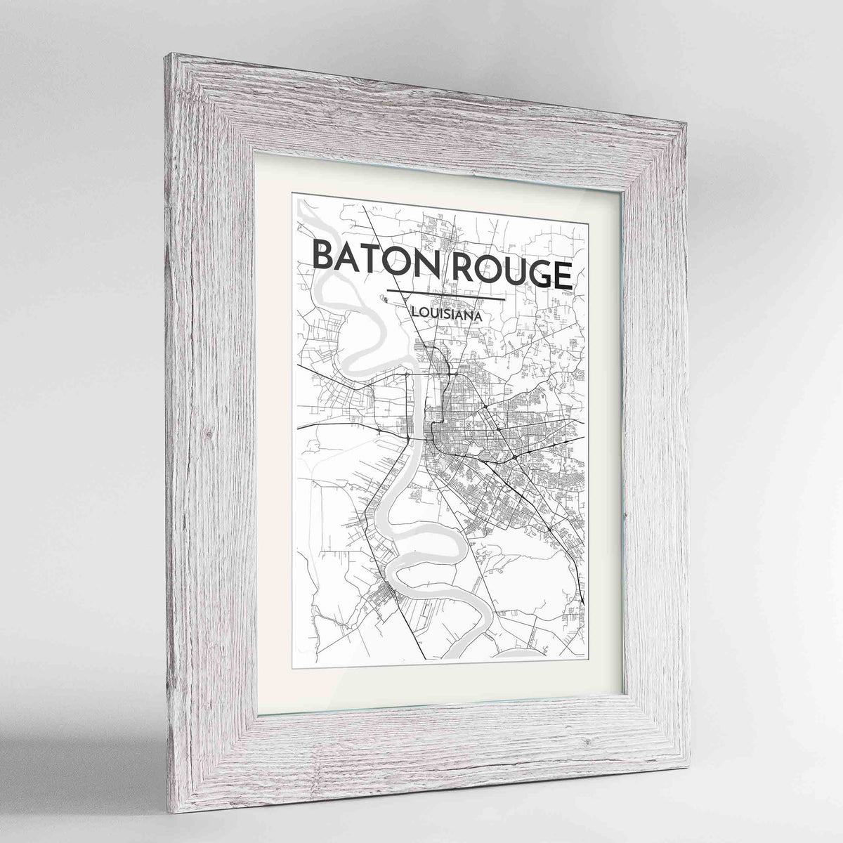 "Framed Baton Rouge Map Art Print 24x36"" Western White frame Point Two Design Group"