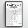Bellingham Map Art Print - Point Two Design