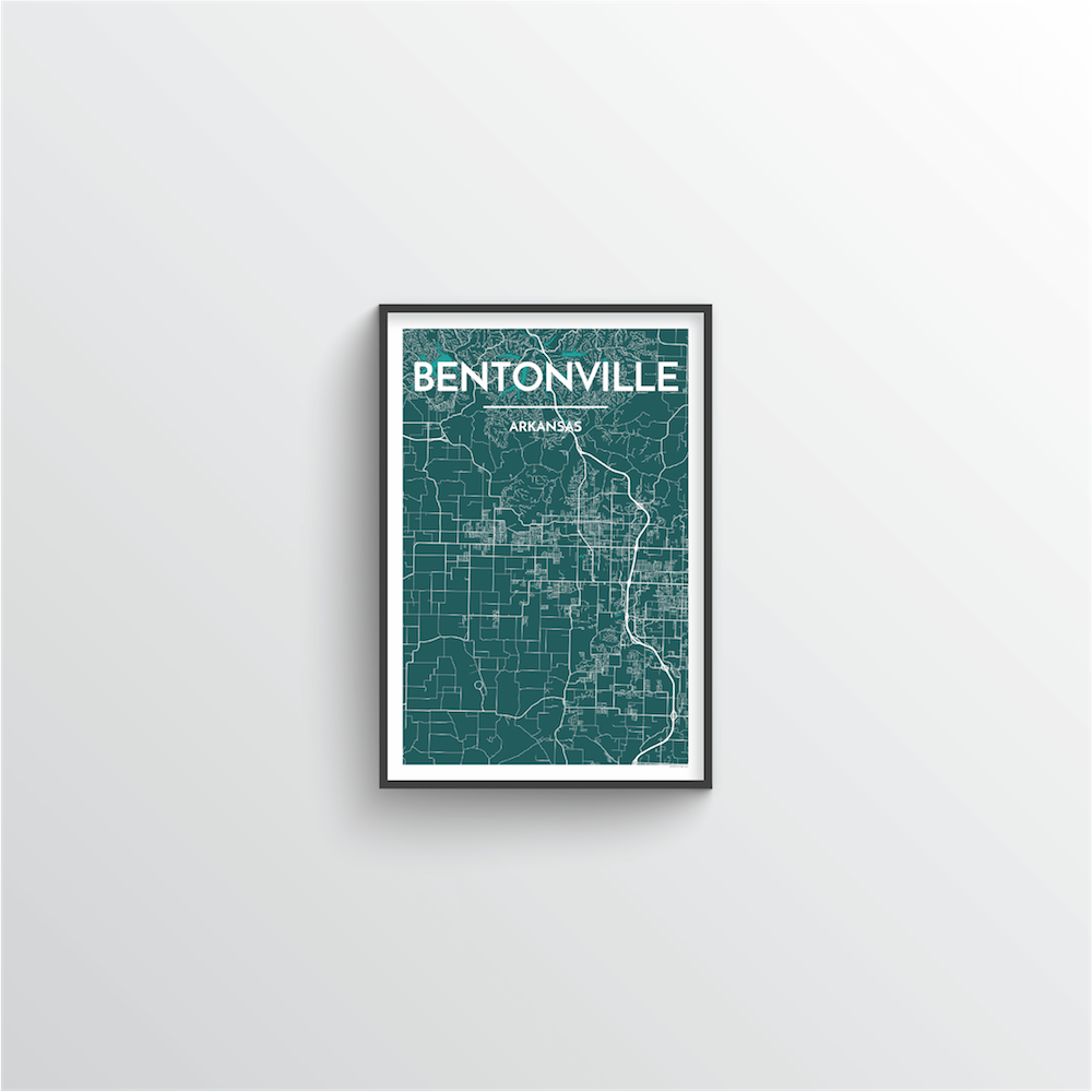Bentonville Map Art Print - Point Two Design