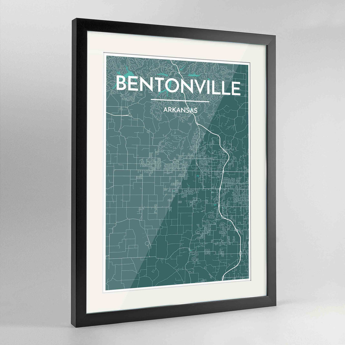 "Framed Bentonville Map Art Print 24x36"" Contemporary Black frame Point Two Design Group"