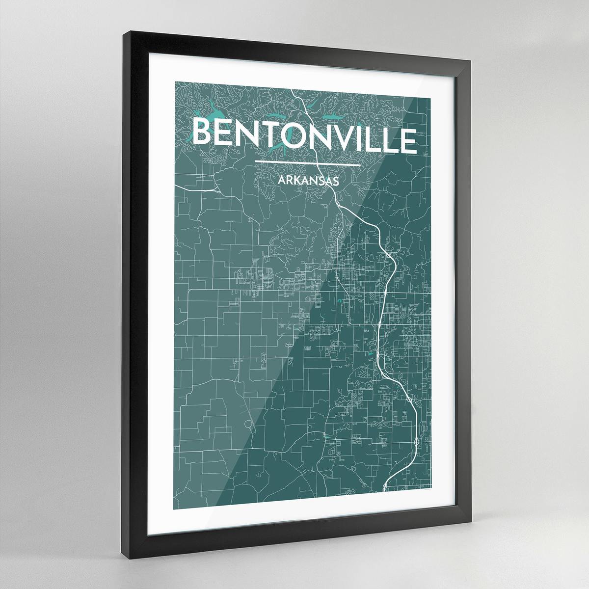 Framed Bentonville Map Art Print - Point Two Design