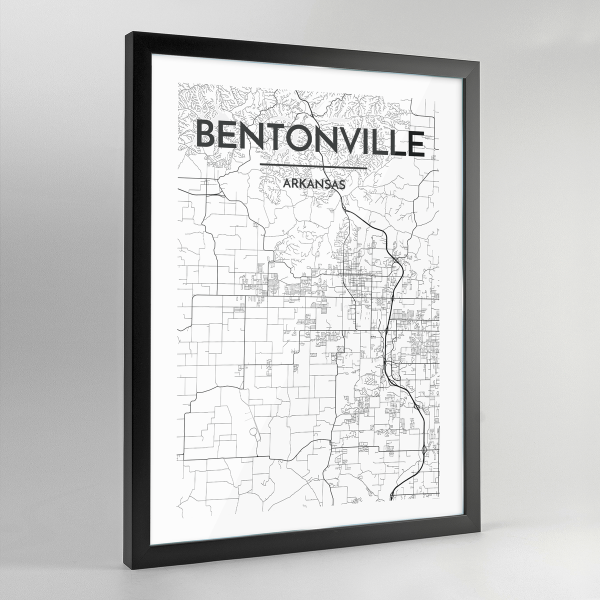 Bentonville Map Art Print - Framed