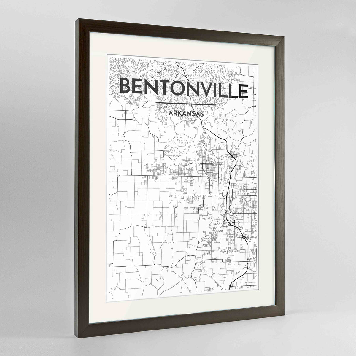 "Framed Bentonville Map Art Print 24x36"" Contemporary Walnut frame Point Two Design Group"