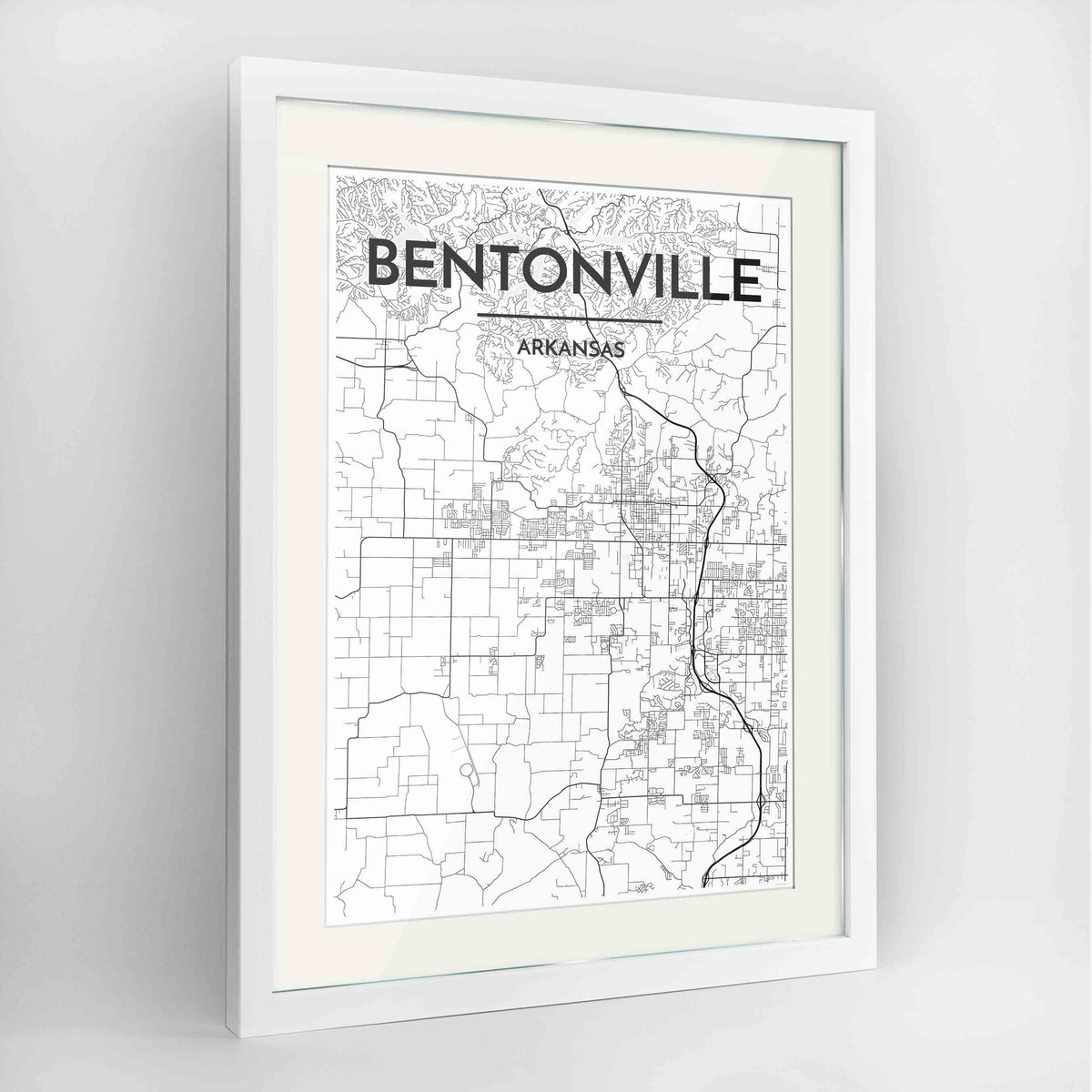 "Framed Bentonville Map Art Print 24x36"" Contemporary White frame Point Two Design Group"