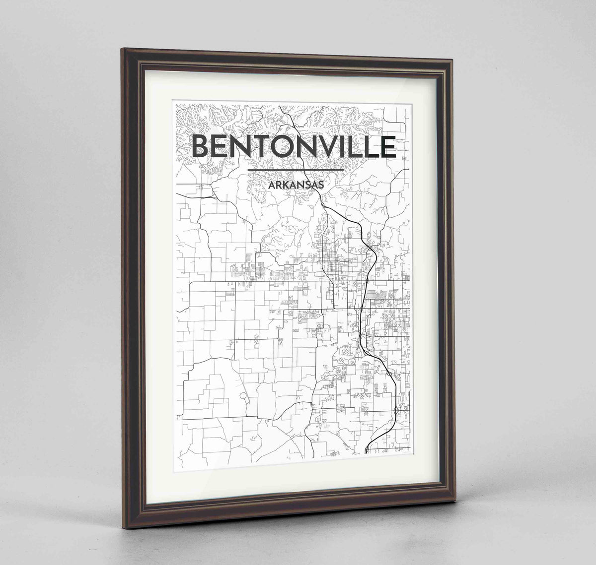 "Framed Bentonville Map Art Print 24x36"" Traditional Walnut frame Point Two Design Group"