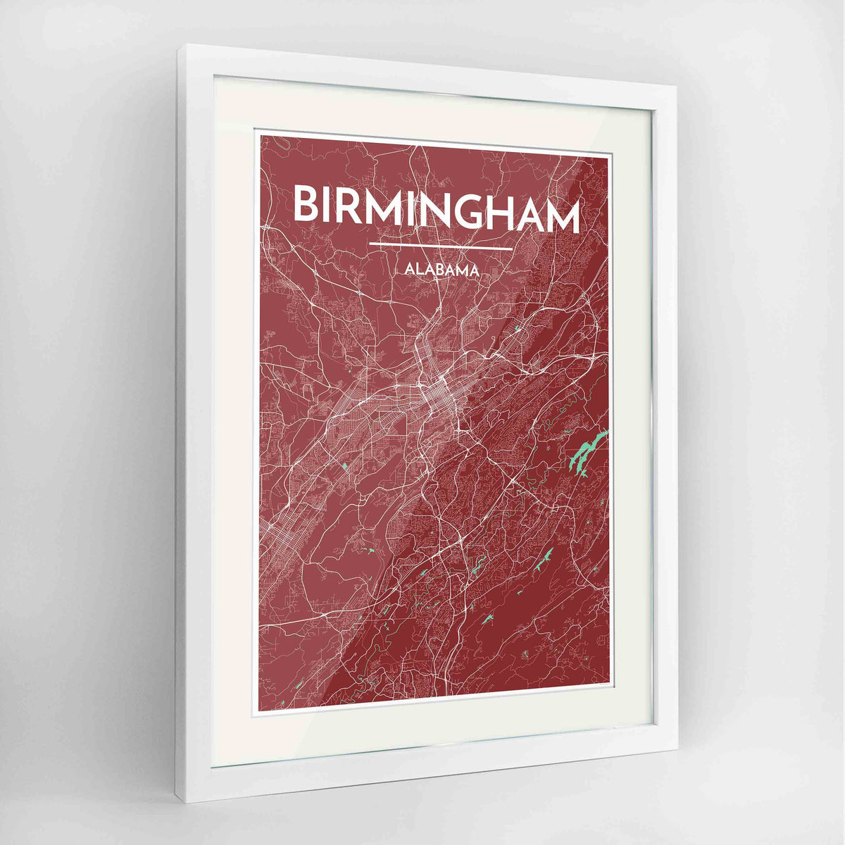 "Framed Birmingham - Alabama Map Art Print 24x36"" Contemporary White frame Point Two Design Group"