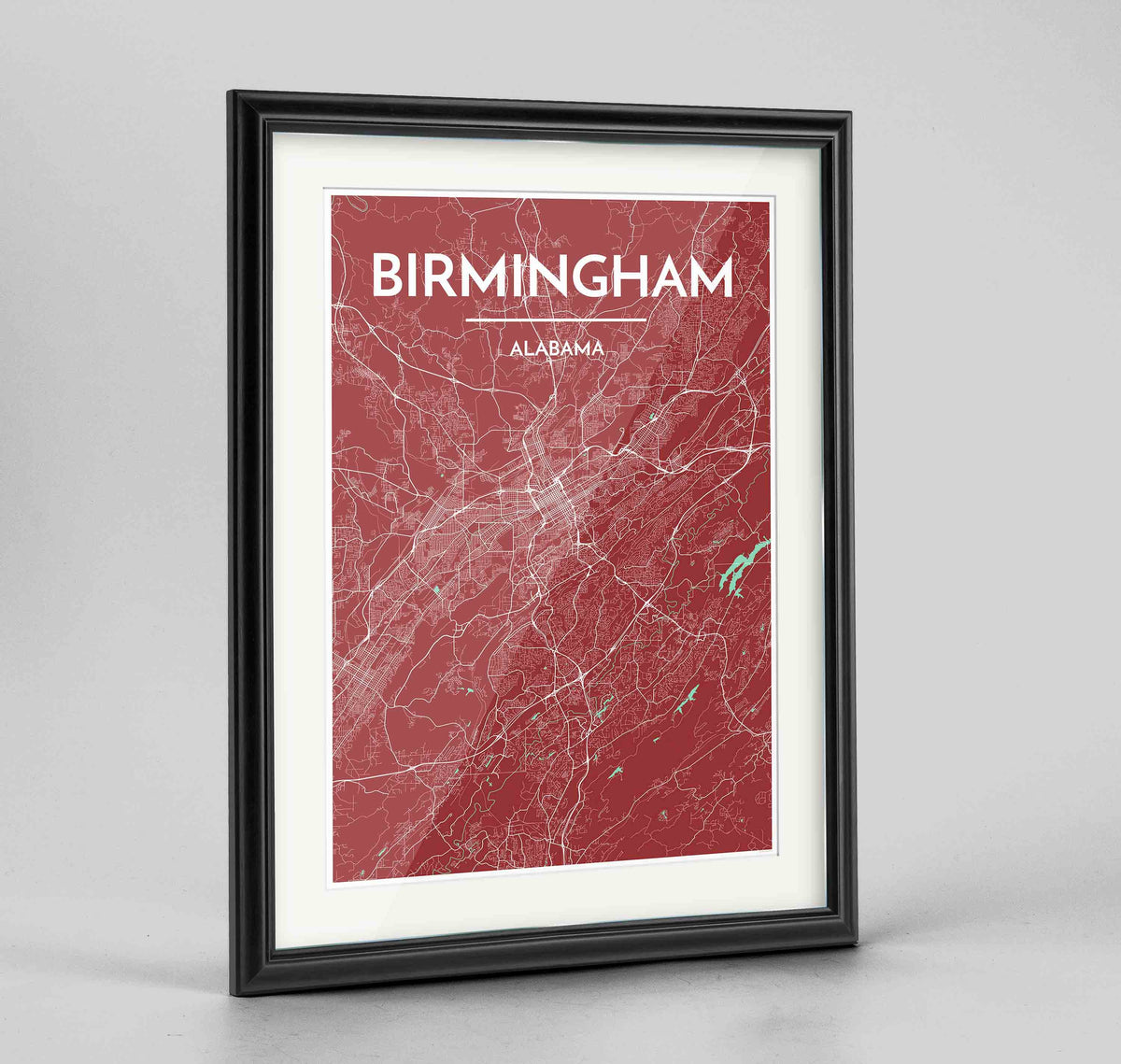 "Framed Birmingham - Alabama Map Art Print 24x36"" Traditional Black frame Point Two Design Group"