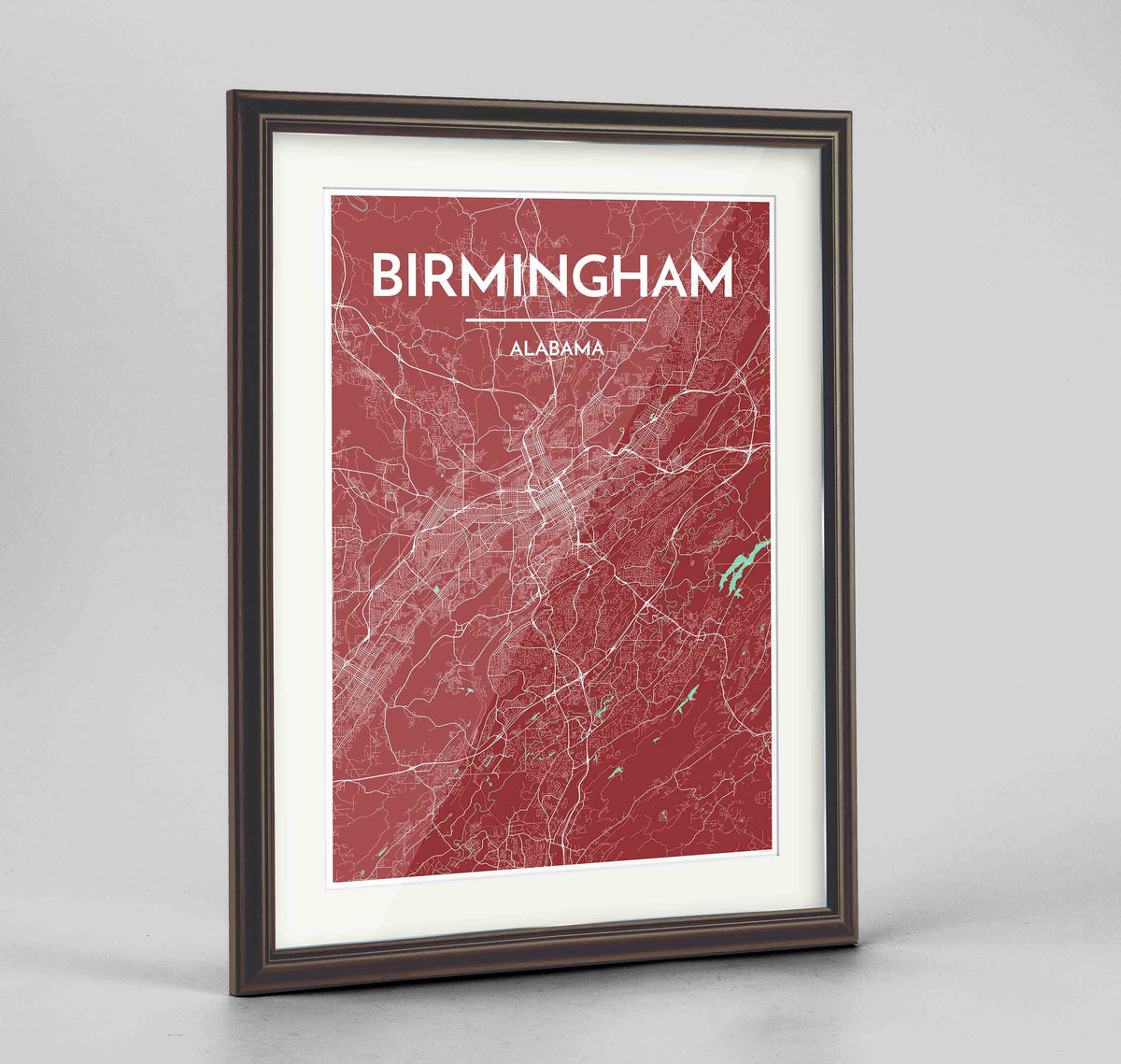 "Framed Birmingham - Alabama Map Art Print 24x36"" Traditional Walnut frame Point Two Design Group"